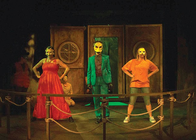 Front row, left to right: Brittany Tague, Matt Henderson and Sara Ashley Fisher in Mr. Burns, a post-electric play, at 12 Peers Theatre