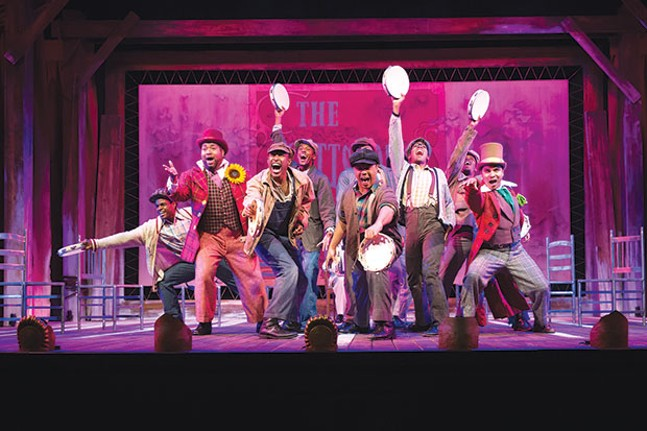 The cast of The Scottsboro Boys, at the Playhouse REP