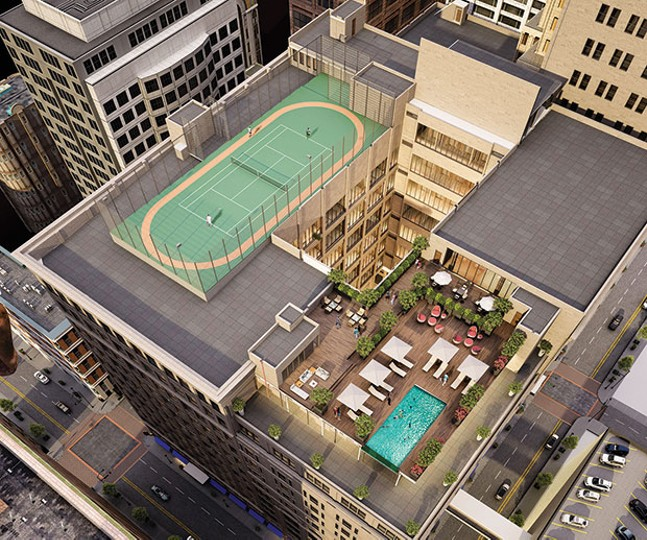 Architect's rendering of an aerial view of Core Real Estates's Kaufmann's Grand on Fifth project