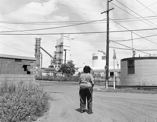 """LaToya Ruby Frazier's """"Sandra Gould Ford looking Back at the view from her former Talbot Towers Apartment in Braddock, PA"""""""