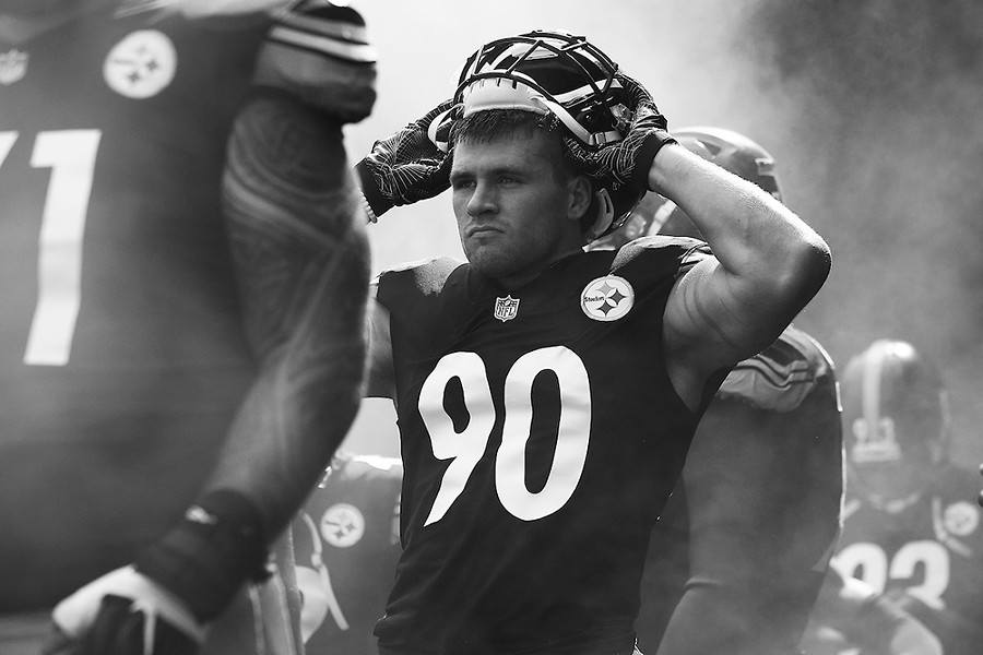 T.J. Watt waits in the tunnel before the start of the game. - CP PHOTO: JARED WICKERHAM