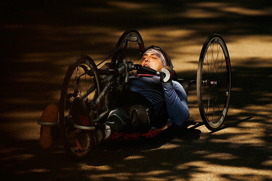 Attila Domos handcycles around the Highland Park bike track. - CP PHOTO: JARED WICKERHAM
