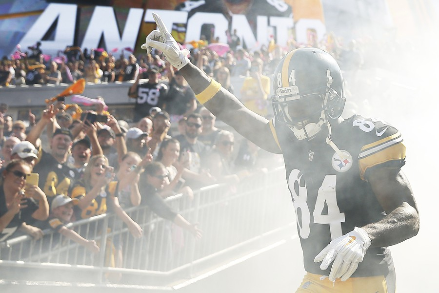 Antonio Brown is introduced before the game against the Falcons. - CP PHOTO: JARED WICKERHAM