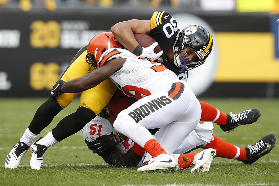 James Conner on one of his first of 24 carries against the Browns. - CP PHOTO: JARED WICKERHAM