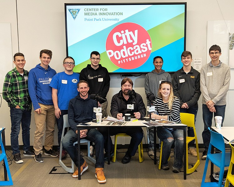 CP photographer/videographer Jared Wickerham, Pittsburgh City Podcast host Paul Guggenheimer and CP editor Lisa Cunniningham with students from Connellsville Area High School - PHOTO: SARAH RIDER SKORIC