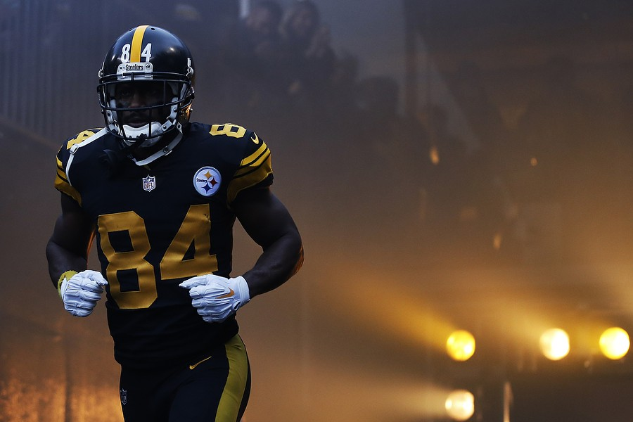 AB takes the field against the Patriots. - CP PHOTO: JARED WICKERHAM