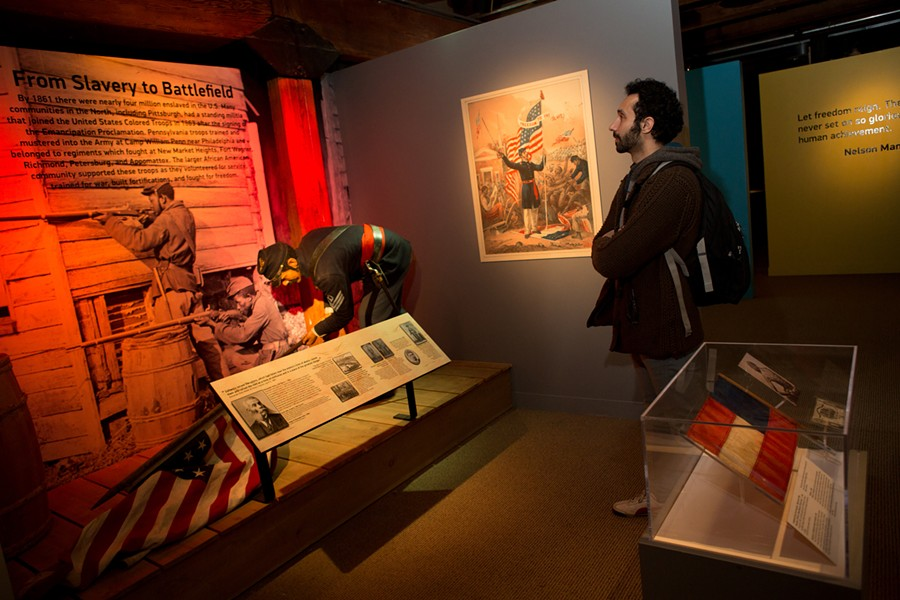 The From Slavery to Freedom exhibit features a life-like museum figure of Civil War soldier Alexander Kelly, who lived in Allegheny City (today's North Side) and was awarded the Congressional Medal of Honor for saving the colors of his company in 1864 during the Battle of Chaffin's Farm in Virginia. - PHOTO: HEINZ HISTORY CENTER