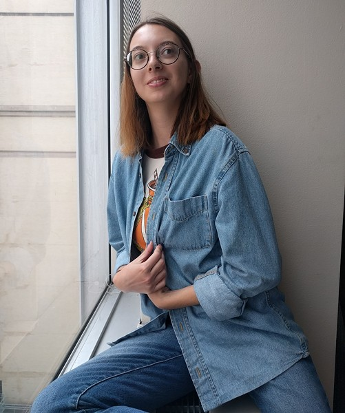 Hannah Lynn with her thrifted denim shirt - CP PHOTO: ABBIE ADAMS