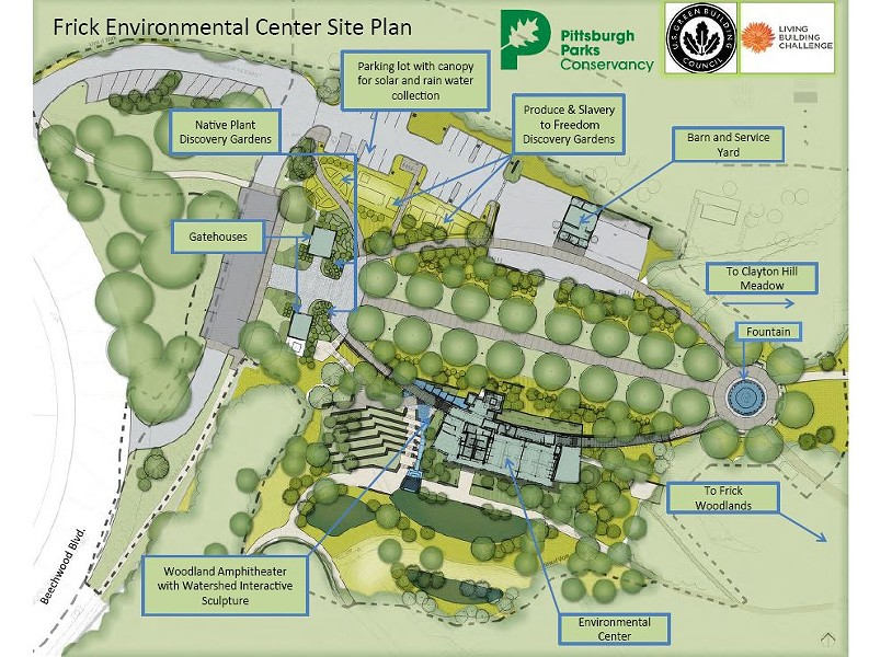 The site plan for the new Frick Environmental Center - PHOTO COURTESY OF THE PITTSBURGH PARKS CONSERVANCY