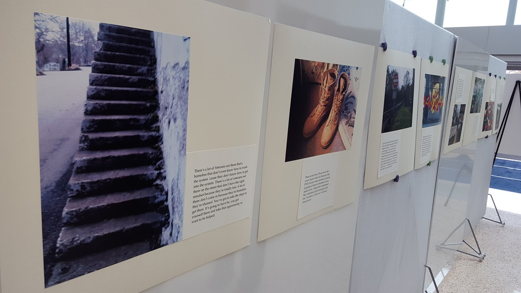 A sampling of the photos at the VA hospital exhibit - PHOTO BY REBECCA NUTTALL