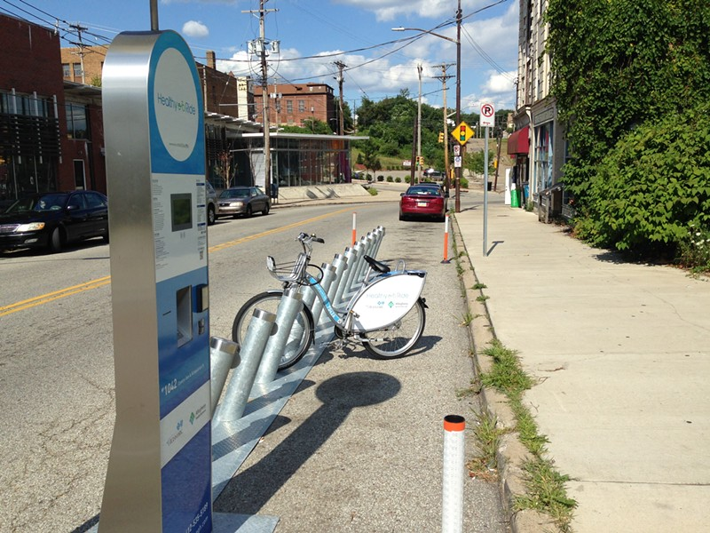 Healthy Ride station at the Centre and Kirkpatrick intersection in the Hill District. - PHOTO BY RYAN DETO