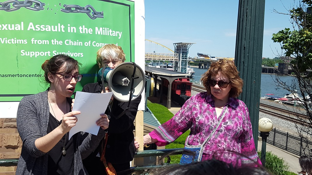 Marni Fritz reads an anonymous letter from a service member who was sexually assaulted - PHOTO BY REBECCA NUTTALL