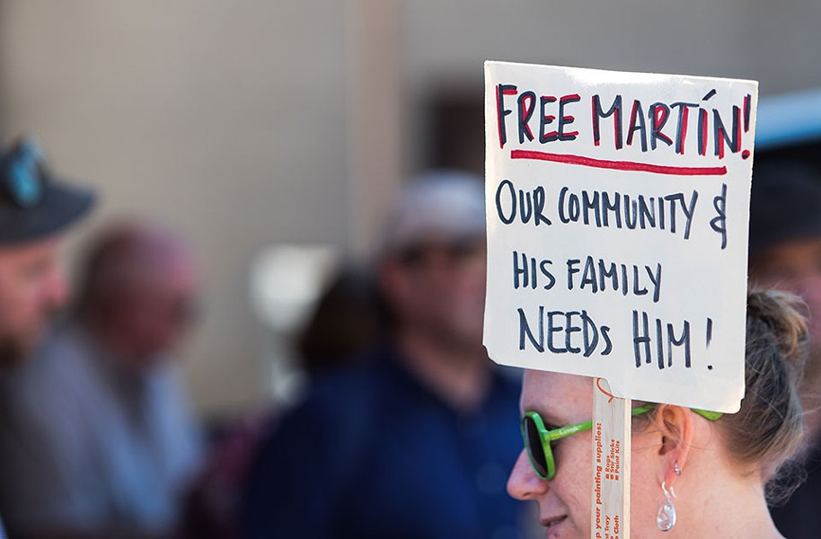 A sign of support at the Sept. 25 rally for Martín in Beechview - CP PHOTO BY LUKE THOR TRAVIS