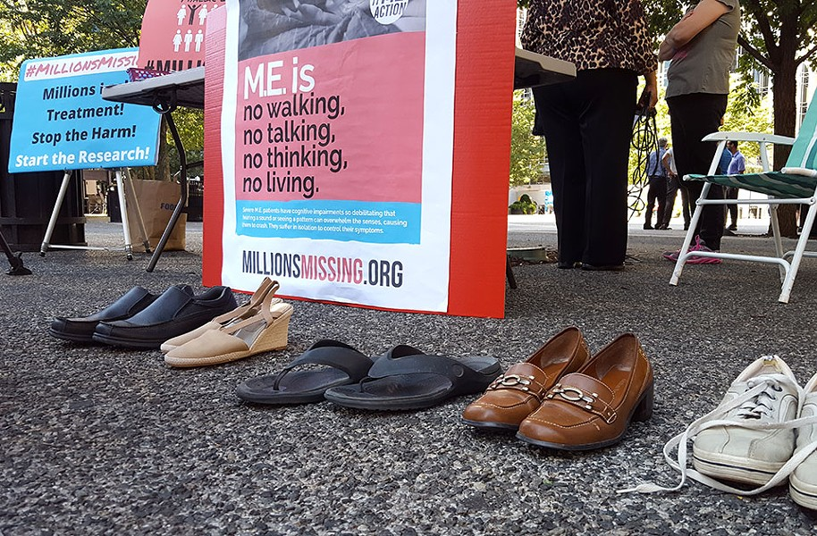Shoes representing those housebound by ME/CFS - CP PHOTO BY REBECCA ADDISON