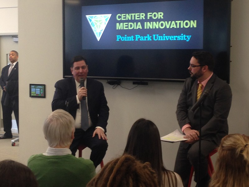 Bill Peduto (left) talking to students at Point Park University - CP PHOTO BY RYAN DETO