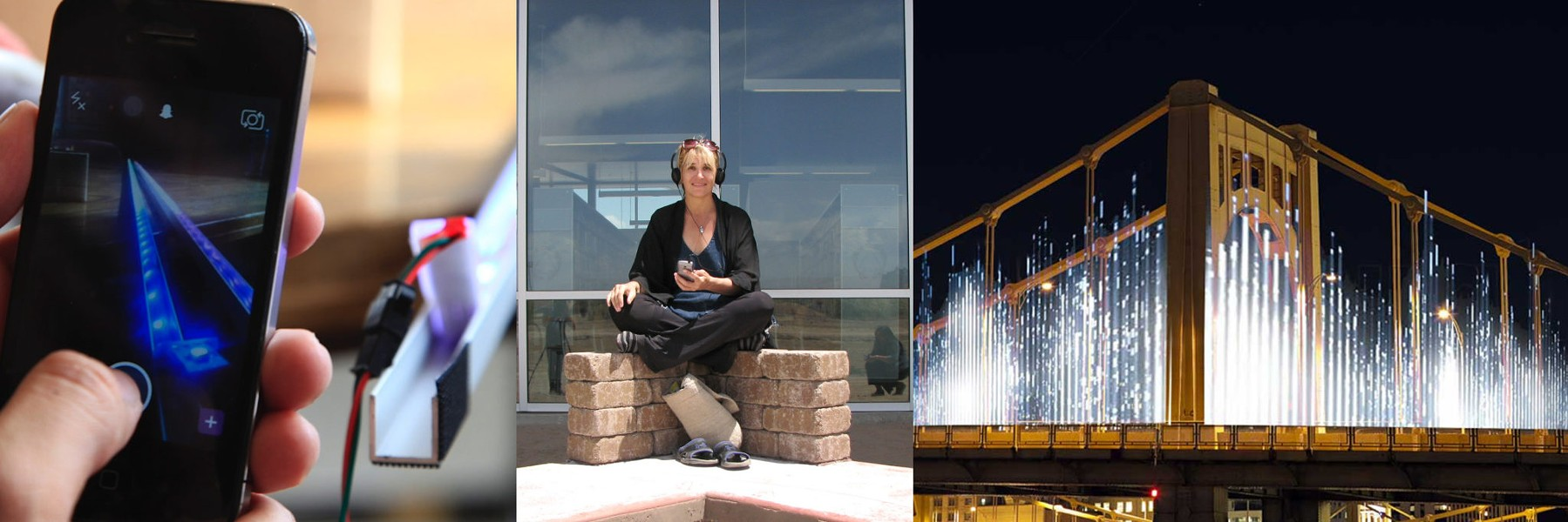 "Andrea Polli (center) and her ""Energy Flow"" on the Rachel Carson Bridge - PHOTO COURTESY OF THE CARNEGIE MUSEUM OF ART"