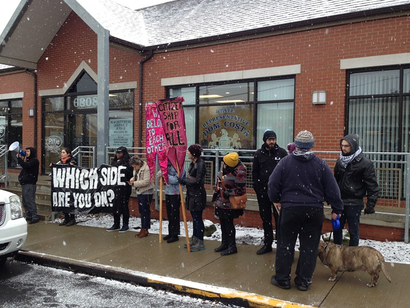 Protesters outside Dom Costa's office in Morningside - CP PHOTO BY RYAN DETO