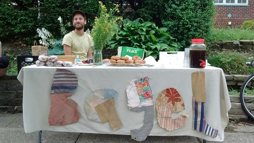 Justin Lubecki at the Friendship Bagel stand - PHOTO COURTESY OF NIN PAULSON