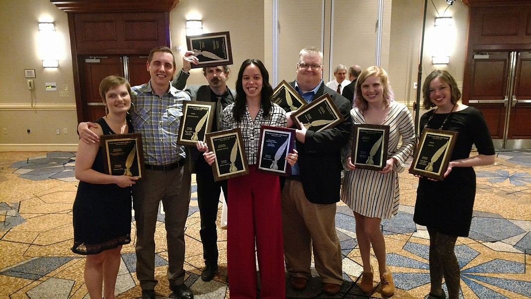 City Paper's Golden Quill Winners, from left, Margaret Welsh, Ryan Deto, Bill O'Driscoll, Rebecca Addison, Charlie Deitch, Celine Roberts and Ashley Murray.  Not pictured are Kim Lyons and DJ Coffman - CP PHOTO BY MARK ADDISON