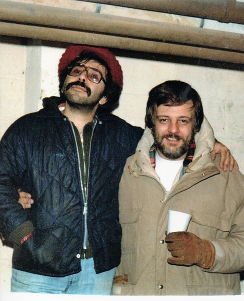 "Tony Buba stands on a box to top the 6'5"" George Romero in a photo from the set of ""Dawn of the Dead"" circa 1977 - PHOTO COURTESY OF TONY BUBA"