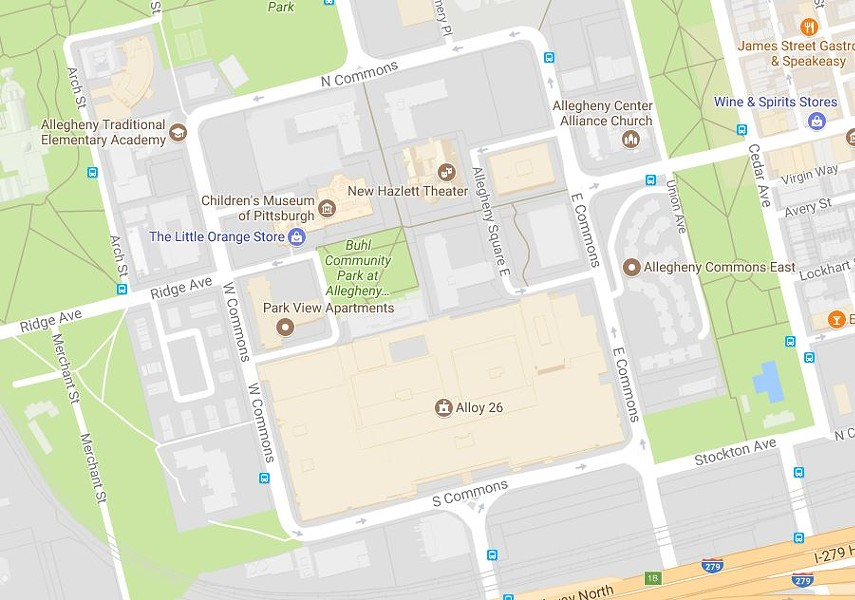 A protected bike lane will circle all of Allegheny Center, a.k.a. Nova Place - IMAGE COURTESY OF GOOGLE MAPS