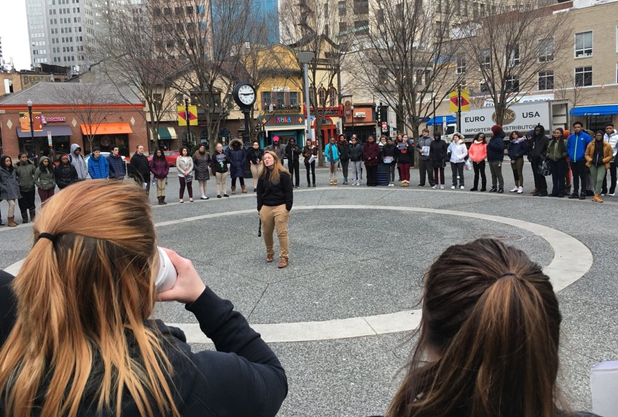 Dozens of high school students gather in Market Square in Downtown after walking out of class - CP PHOTO BY SABRINA BODON