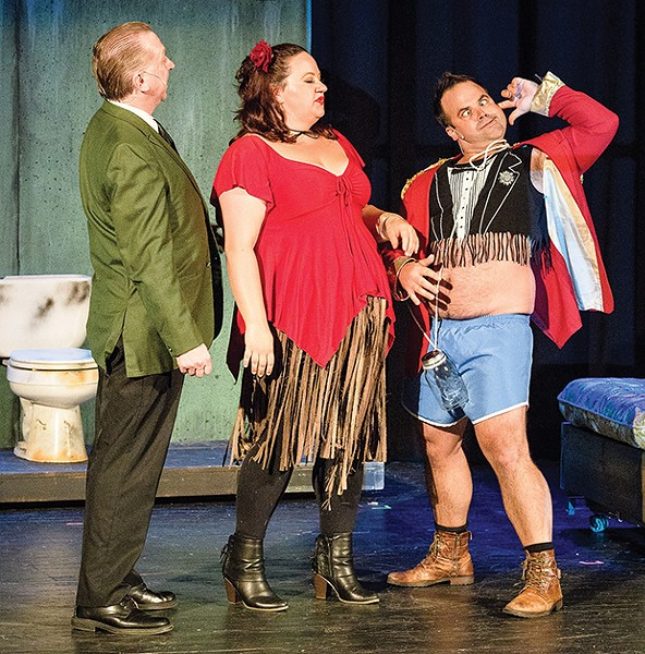 Matthew J. Rush, Candice Fisher and Damon Spencer in Dirty Rotten Scoundrels - PHOTO COURTESY OF IMAGE42