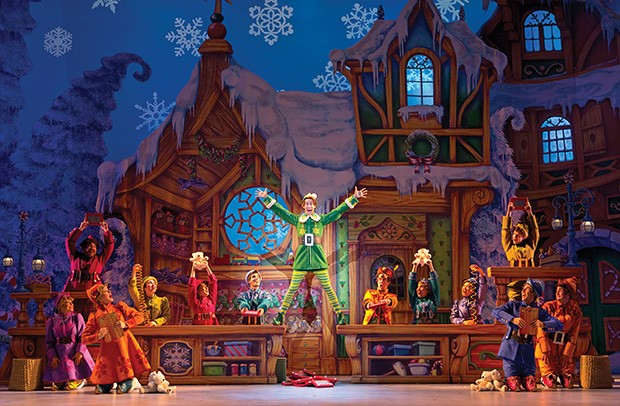 Matt Kopec as Buddy with the cast of Elf the Musical - JOAN MARCUS
