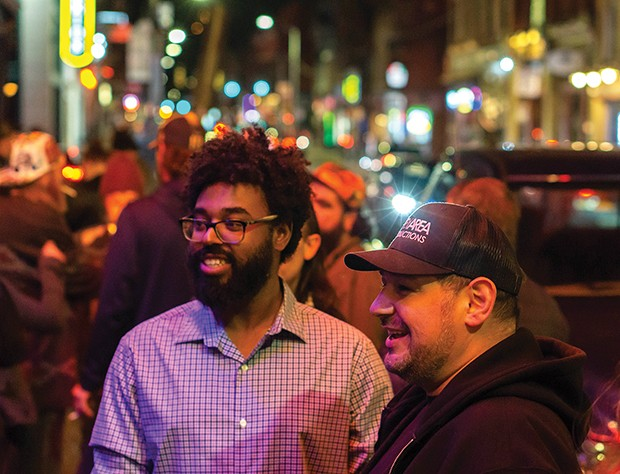 Rex Theater owner Ben Penigar (right) with Jusitn Landers outside the venue - CP PHOTO: DAVID HEATH
