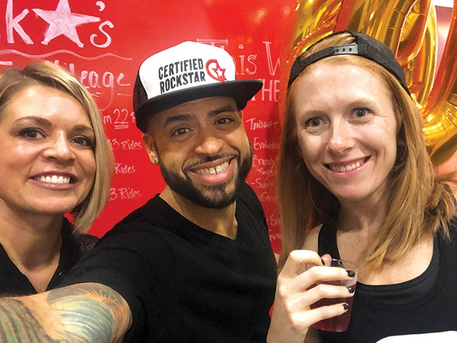 From left: CycleBar Robinson instructors Emily Dahlke, Lex Gonzalez, Jennifer Haffner - LEX GONZALEZ