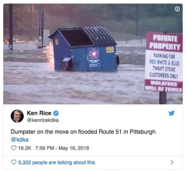 A screen cap of KDKA anchor Ken Rice's Floating Dumpster tweet
