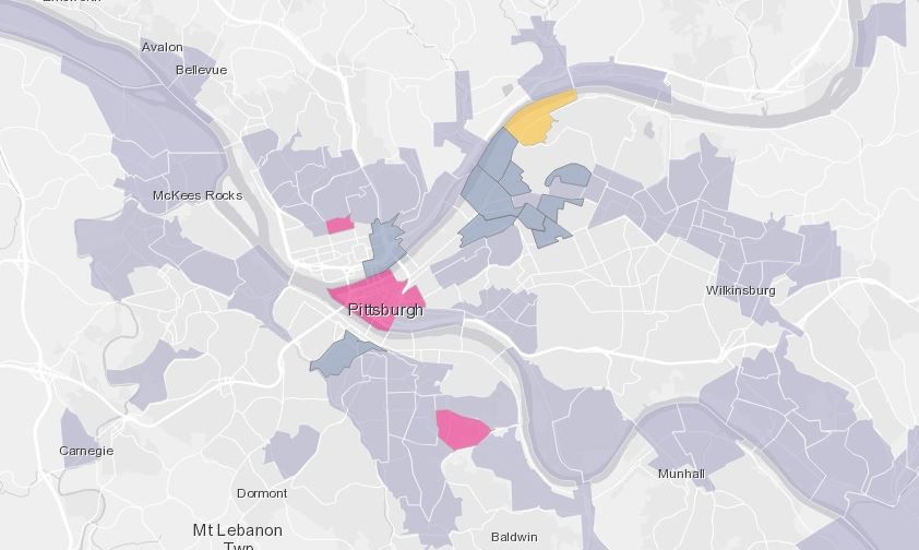Map showing Pittsburgh gentrification and displacement. Dark gray sections are gentrified areas; pink represents Black displacement; and yellow is white displacement. - SCREENSHOT FROM NCRC.ORG