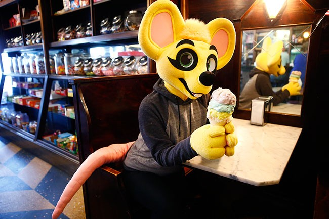 Pittsburgh furry Rhythm poses inside Klavon's Ice Cream Parlor. - CP PHOTO: JARED WICKERHAM