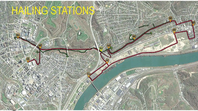 Proposed route of Mon-Oakland Connector with hailing stations - SCREENSHOT FROM MON-OAKLANDMOBILITY.COM