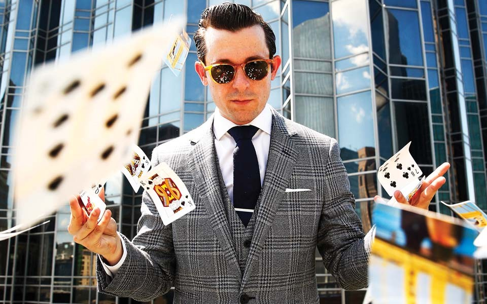 Pittsburgh magician Lee Terbosic - CP PHOTO: JARED WICKERHAM // WARDROBE: COMMONWEALTH PROPER (COMMONWEALTHPROPER.COM) // LOCATION: TOWN PLACE BY BRIDGESTREET (TOWNPLACE.BRIDGESTREET.COM)