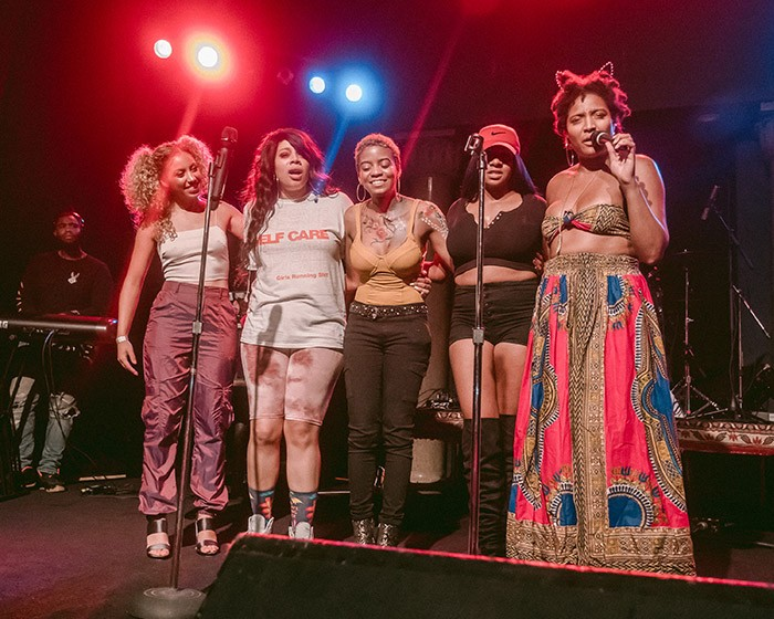 Sierra Sellers, INEZ, Leila Rhodes, Simone Davis, and Clara Kent on stage at Pittsburgh's Very Own at Mr. Smalls Theatre - CP PHOTO: ERIN ALLPORT