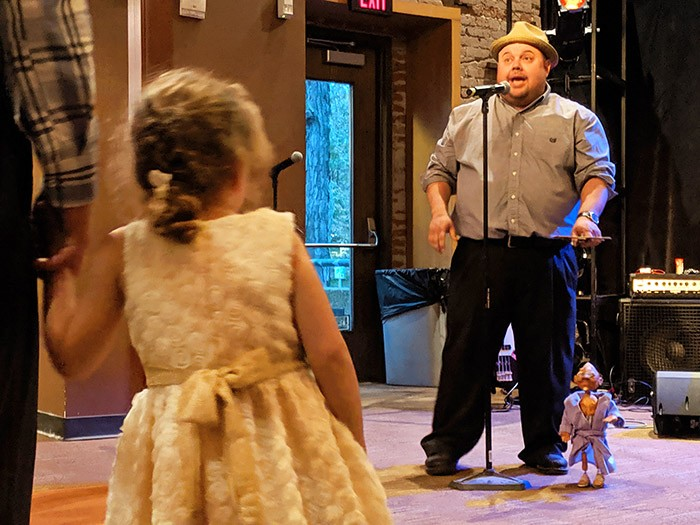 Dave English and puppet Stanley Onion give a sneak preview of his upcoming performance during New Hazlett Theater's CSA announcement party. - CP PHOTO: LISA CUNNINGHAM