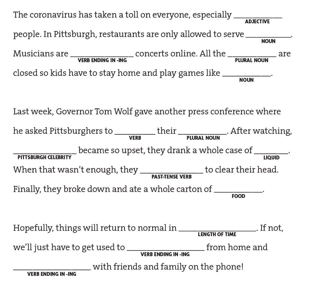 This is a graphic of Mad Libs Printable for Adults throughout youth group