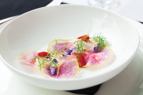 Scallop crudo with watermelon radish, fennel and piquillo pepper at Senti - PHOTO BY VANESSA SONG