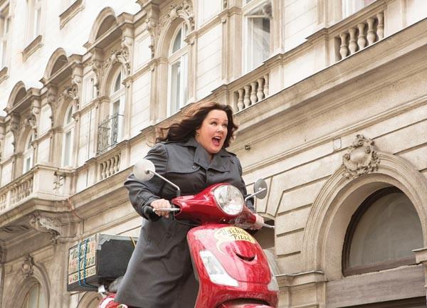 Super-secret spy-scootering: Melissa McCarthy