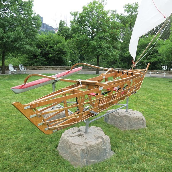 "Michael Arcega's outrigger canoe ""Baby: Corps of Rediscovery"" - PHOTO BY BILL O'DRISCOLL"