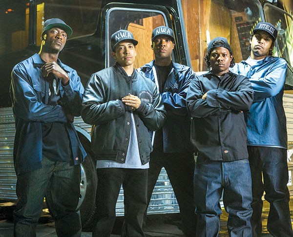 Boyz from the hood: MC Ren (Aldis Hodge), DJ Yella (Neil Brown Jr.), Dr. Dre (Corey Hawkins), Easy E (Jason Mitchell), Ice Cube (O'Shea Jackson Jr.)