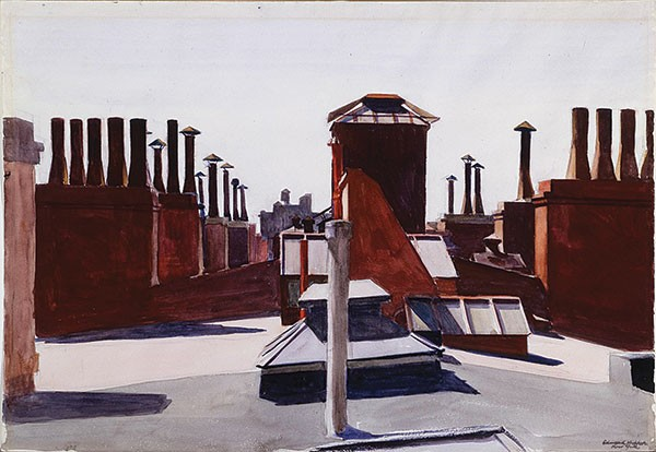 "Edward Hopper's watercolor ""Roofs, Washington Square"" (1926) - BEQUEST OF MR. AND MRS. JAMES H. BEAL. IMAGE COURTESY OF THE CARNEGIE MUSEUM OF ART"