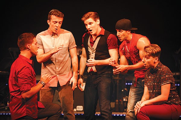 From left: Javier Manente, Carter Ellis, Michael James, Michael Greer and Mason Alexander Park in Pittsburgh CLO's Altar Boyz - PHOTO COURTESY OF MATT POLK