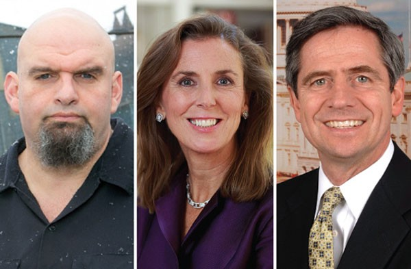 U.S. Senate Democratic candidates John Fetterman, Katie McGinty and Joe Sestak - JOHN FETTERMAN PHOTO BY JOHN COLOMBO / MCGINTY AND SESTAK PHOTOS, PROVIDED BY CANDIDATES