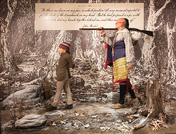 """""""The Capture of John Brickell,"""" a life-sized vignette depicting the capture of a boy by Native Americans in 1791, a few miles from Fort Pitt - PHOTO COURTESY OF RACHELLYNN SCHOEN"""