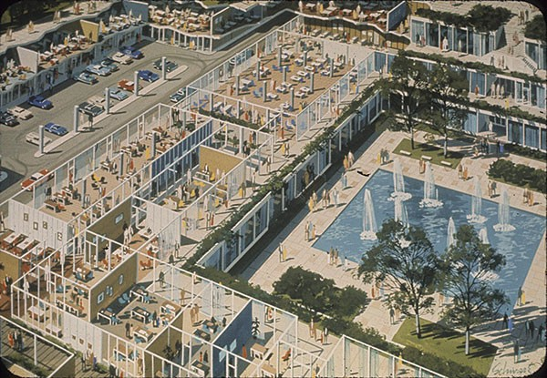 1964 architectural rendering of architect Harrison & Abramovitz's Panther Hollow Project by Robert Schwartz - IMAGE COURTESY OF CARNEGIE MELLON UNIVERSITY ARCHITECTURE ARCHIVES