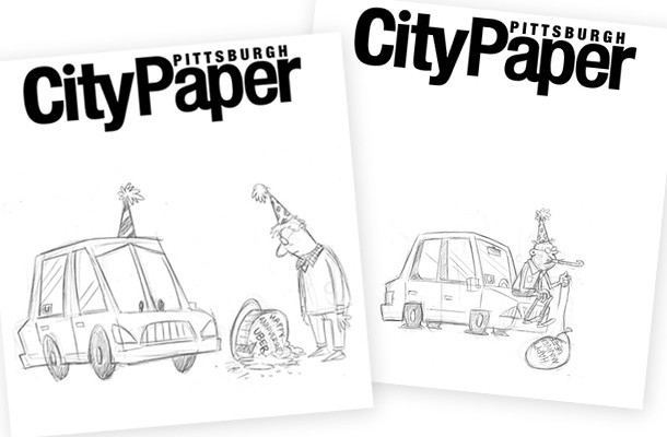 Sketches from this week's Pittsburgh City Paper cover illustration. We picked the one on the left for this week's cover; the one on the right turned into the main artwork for our news story.