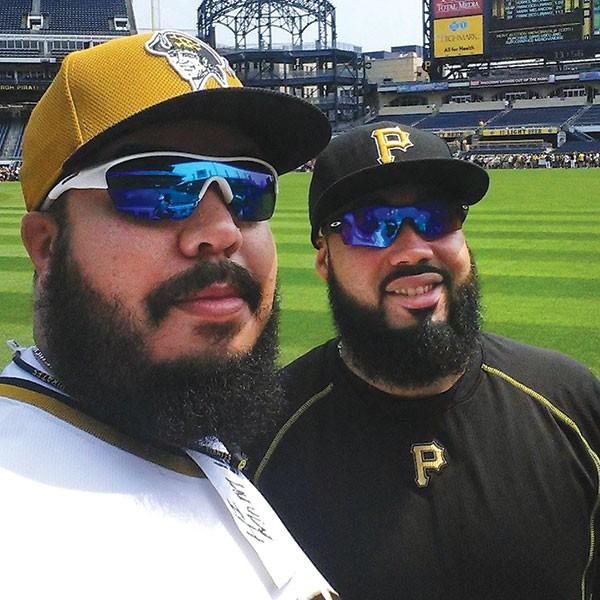 "A selfie by Demitrius Thorn ""Fake Pedro"" (left) with Pedro Alvarez"