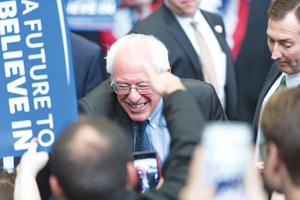 Bernie Sanders greets supporters in Pittsburgh on March 28 - PHOTO BY RENEE ROSENSTEEL